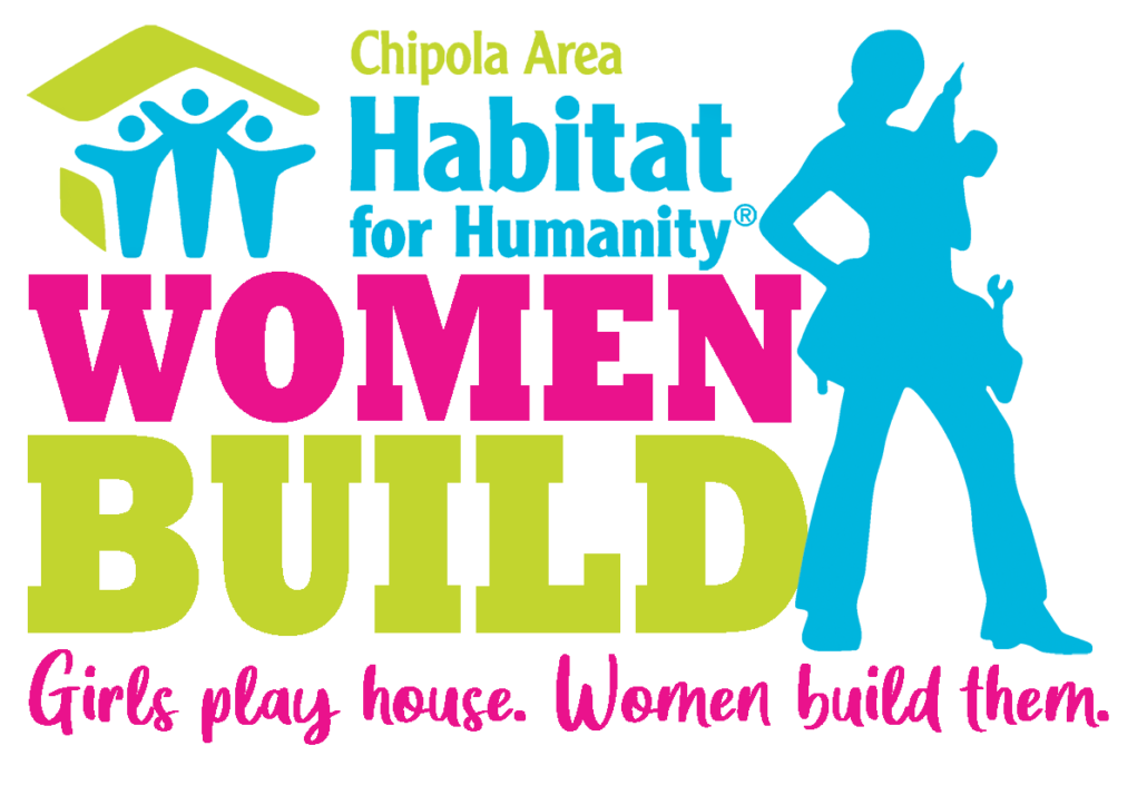Logo featuring a woman with a toolbelt and drill that reads Chipola Area Habitat for Humanity Women Build. Girls play house, women build them.